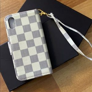 Designer inspired wallet case wristlet iPhone X